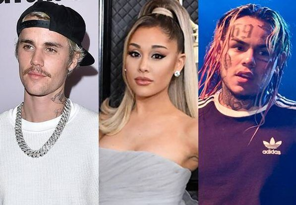 ariana grande and justin bieber react after tekashi 6ix9ine accuses them of buying their billboard no 1 e1589851994625