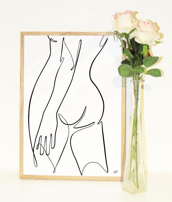 Minimalistisk nøgen kvinde ryg