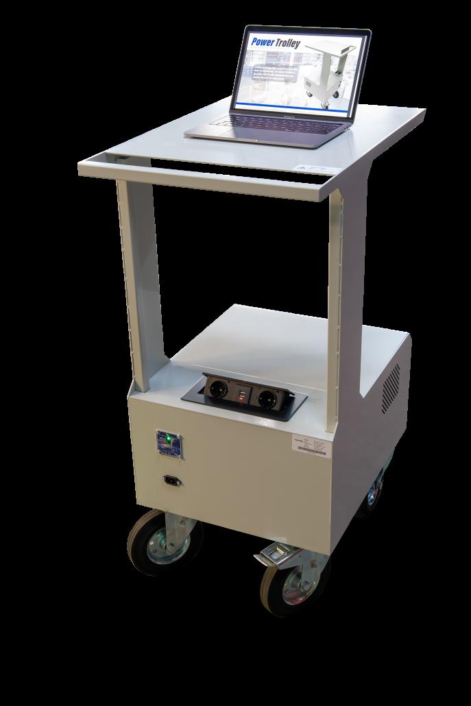 Mobiele power trollet, werkplekken, magazijn werkstations, werkplek, laptopkar, printerkar, printertrolley
