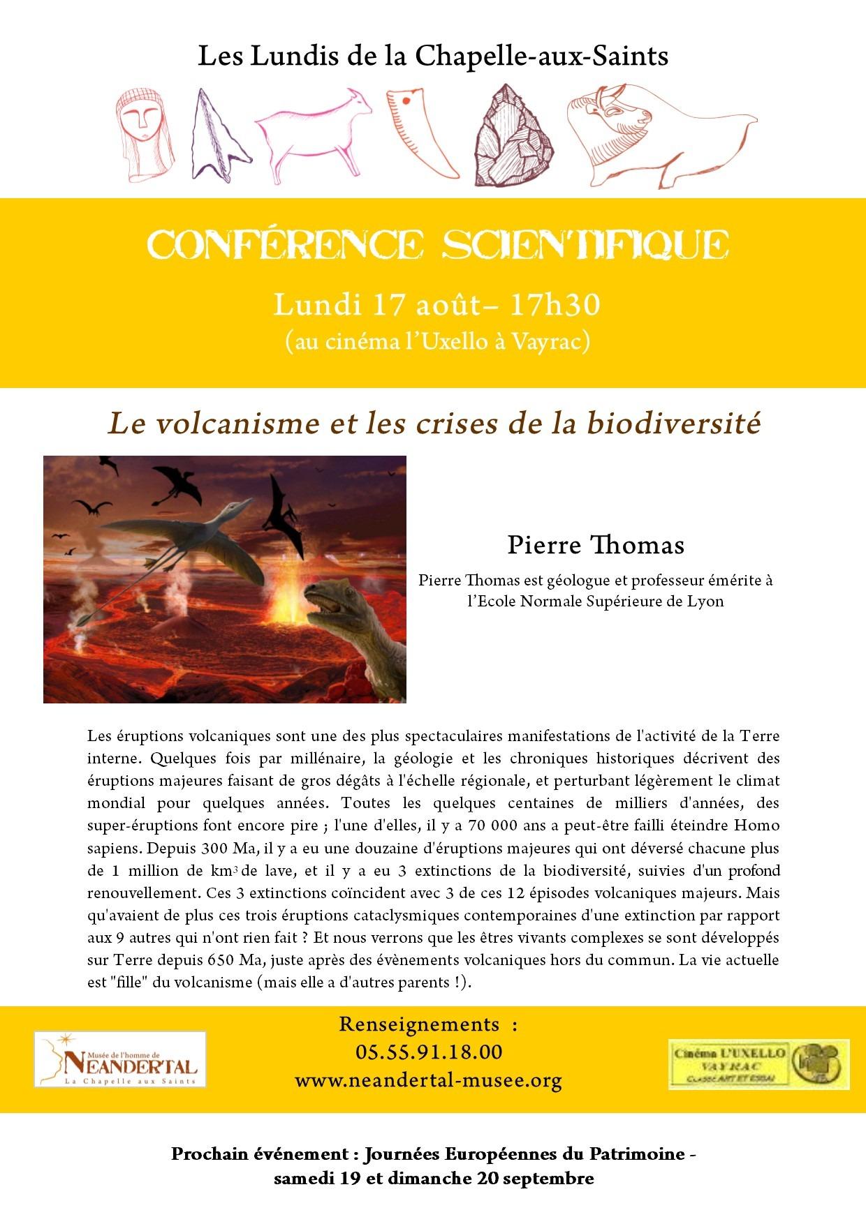 Read more about the article Lundi prochain (17 août) à 17h30, nous vous invitons à la dernière conférence de l'été. Pierre Thomas viendra nous parler du volcanisme et des crises de la biodiversité.