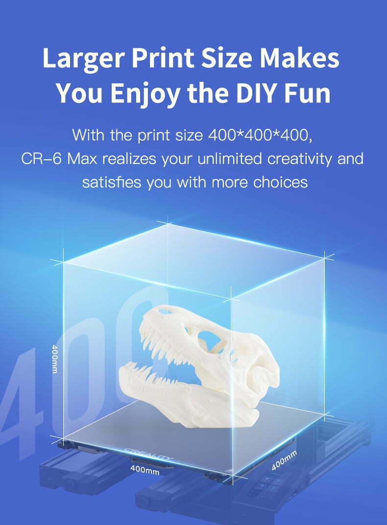 Creality CR-6 Max 3D printer størrelse
