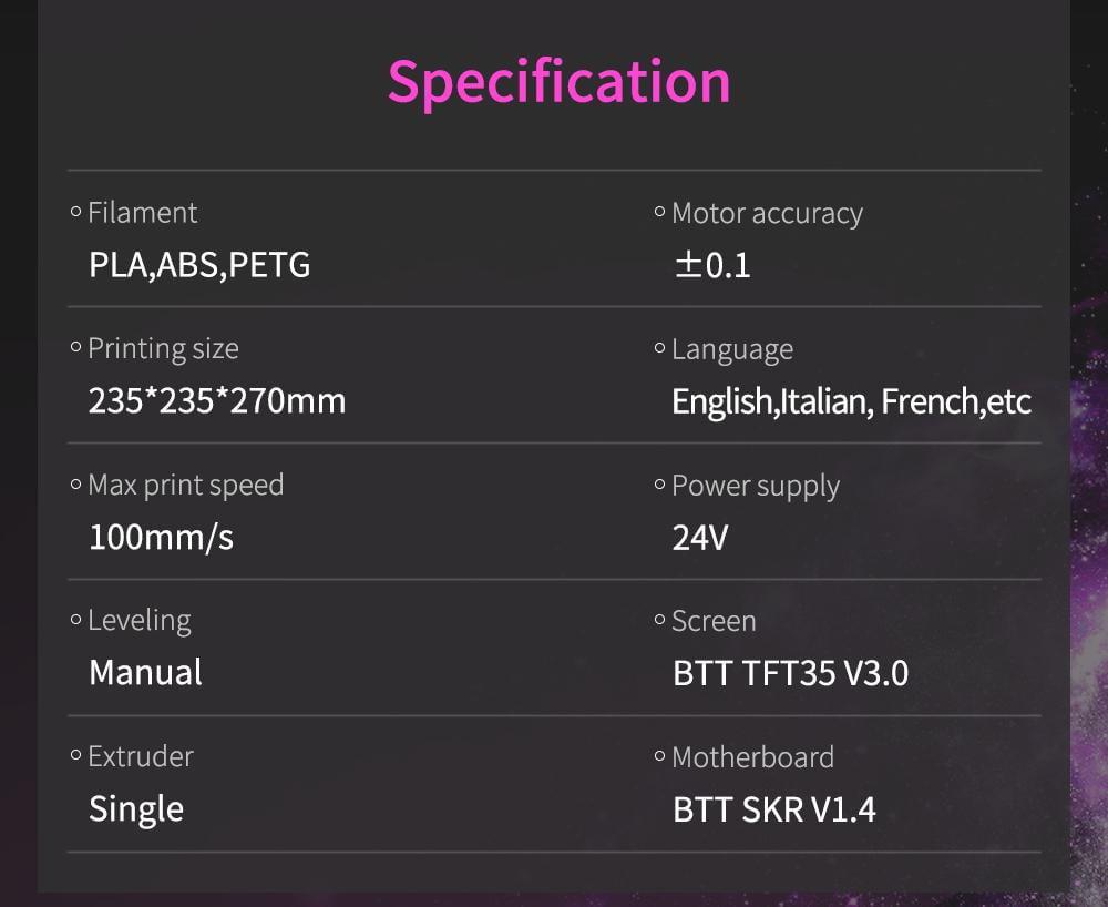 BIQU B1 specifikationer