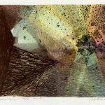 Håndkolorert litografi. Lys, liv og geometri. Mørke, død og kaos. Sonja Bunes 2017