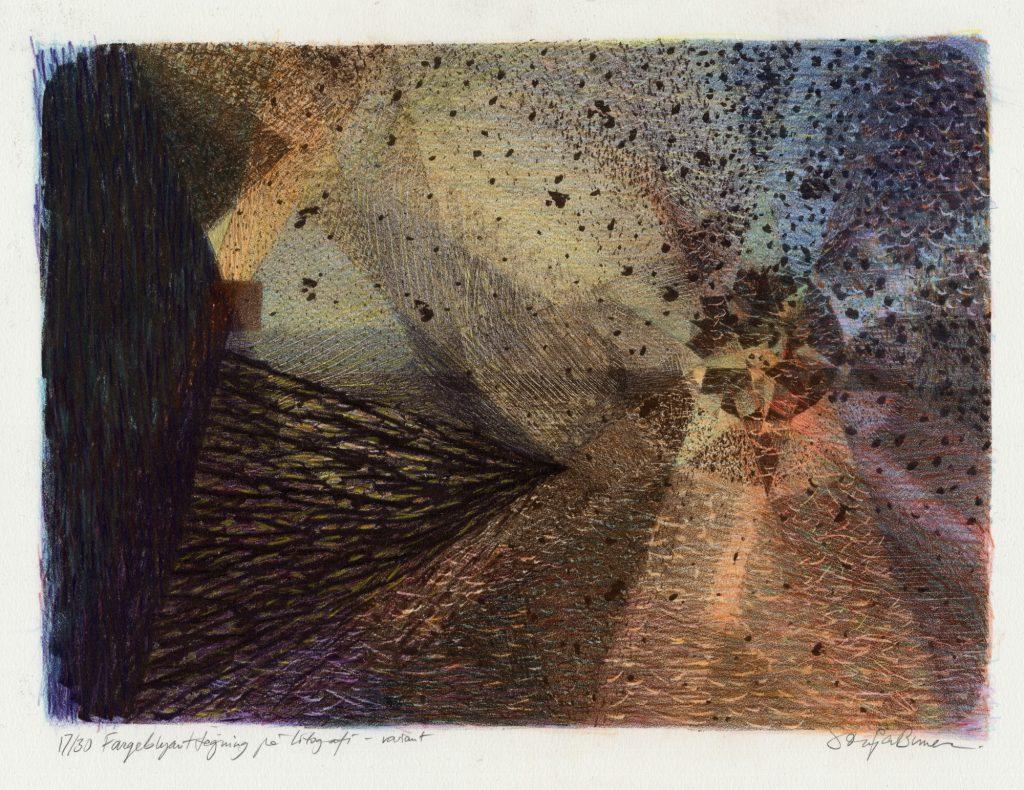Håndkolorert litografi. Lys, liv og geometri. Mørke, dør og kaos. Sonja Bunes 2017