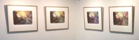 Lys, liv og geometri, mørke, død og kaos. Fargetegning på litografisk trykk. Sonja Bunes