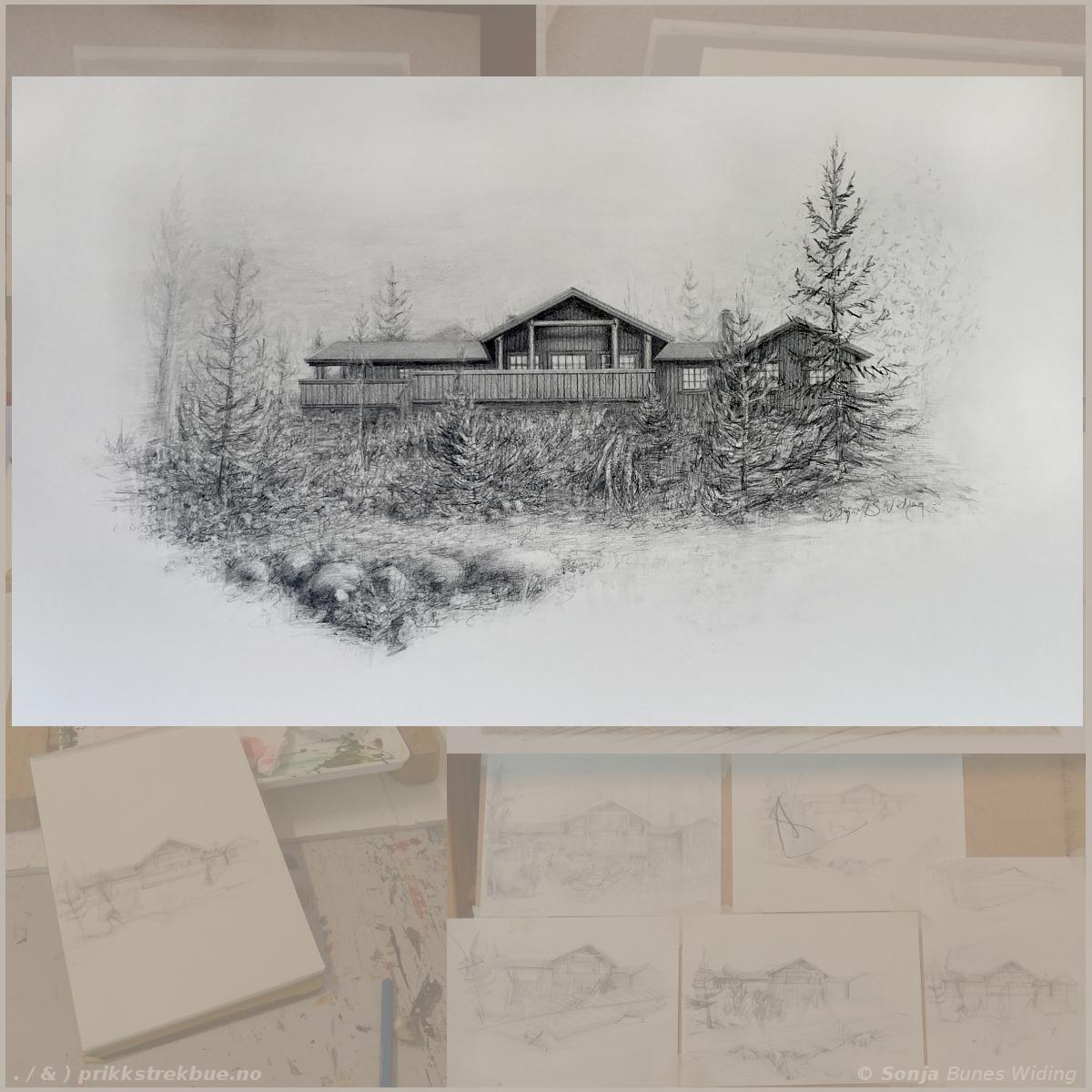 Portrett av en hytte. Blyanttegning 2018. Sonja Bunes