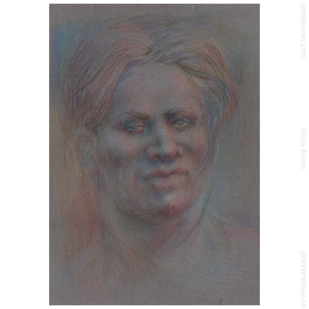 Thoughtful. Tegning med Caran d'Ache Luminance 6901 fargeblyanter på Hahnemühle Nostalgie papir. A3. 29x42cm. April 2020. Sonja Bunes.