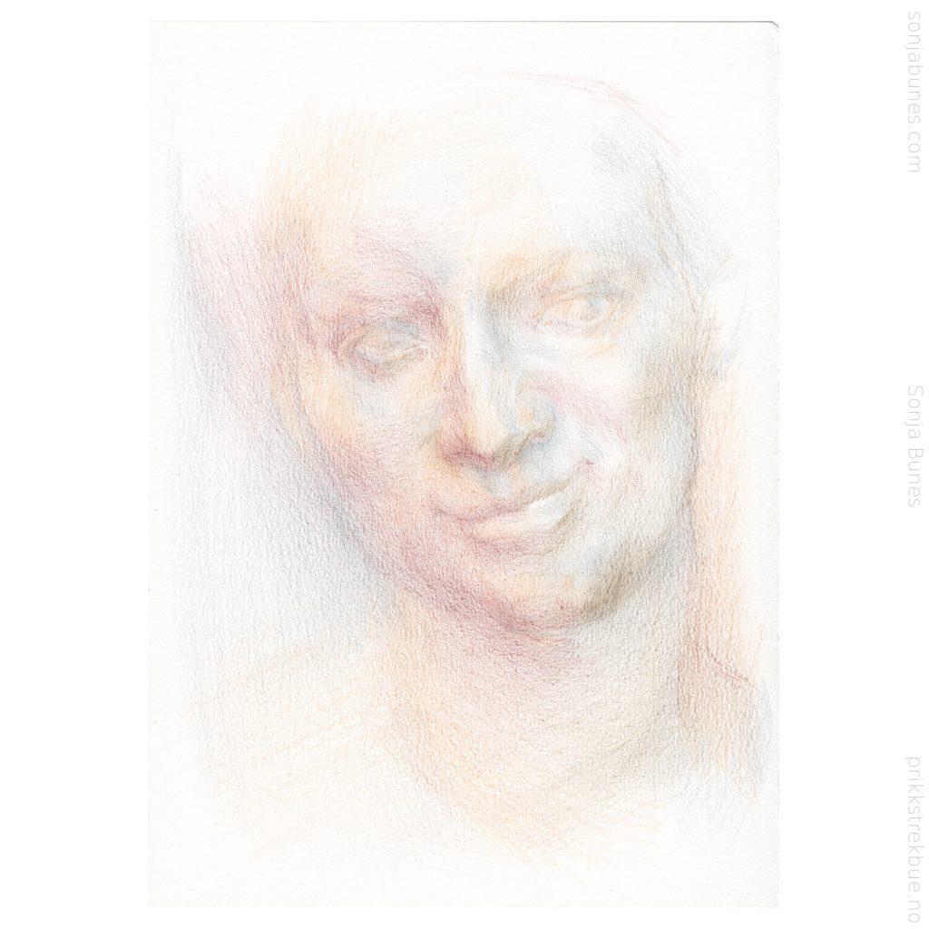 Sonja Bunes 2020. For tidlig voksen. A5. Prosess, 01 fargeblyanttegning