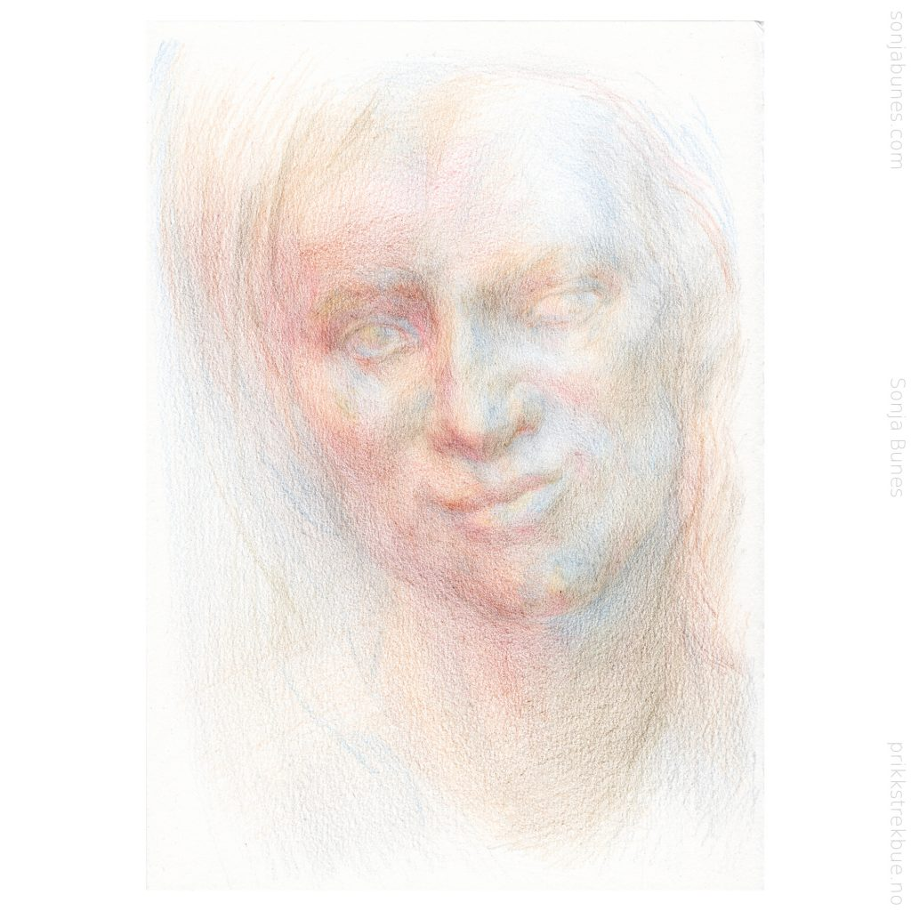 Sonja Bunes 2020. For tidlig voksen. A5. Prosess, 02 fargeblyanttegning