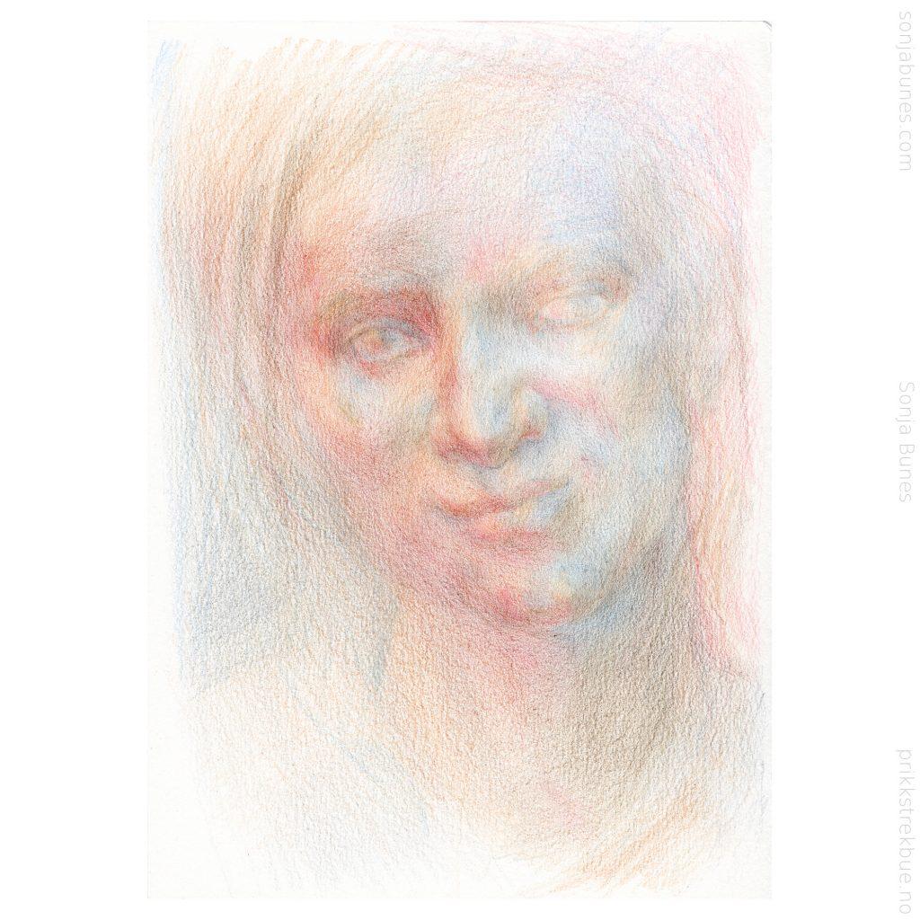 Sonja Bunes 2020. For tidlig voksen. A5. Prosess, 04 fargeblyanttegning