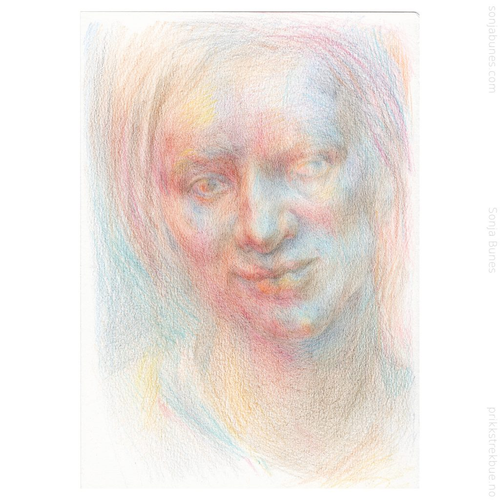 Sonja Bunes 2020. For tidlig voksen. A5. Prosess, 06 fargeblyanttegning