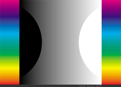 SonjaBunes digital illustrasjon fra 2001 Det fargerike feltet mellom svart og hvitt 2