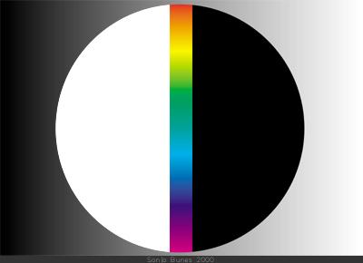 SonjaBunes digital illustrasjon fra 2001 Det fargerike feltet mellom svart og hvitt 1