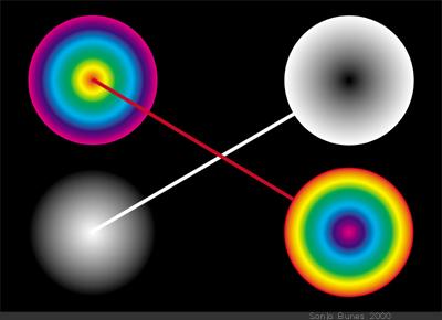 SonjaBunes digital illustrasjon fra 2001 Det fargerike feltet mellom svart og hvitt 3