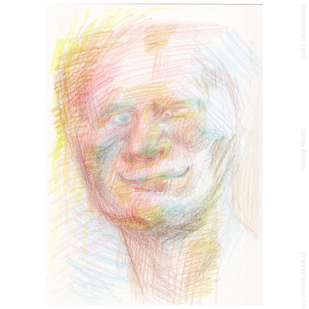 Sonja Bunes 2020. Kintergarden Uncle. A4. Fargeblyanttegning.