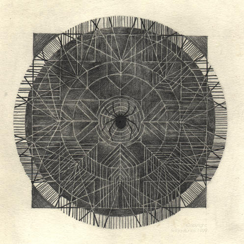 Nettverk. Blyanttegning, 18x18cm. Sonja Bunes 1999