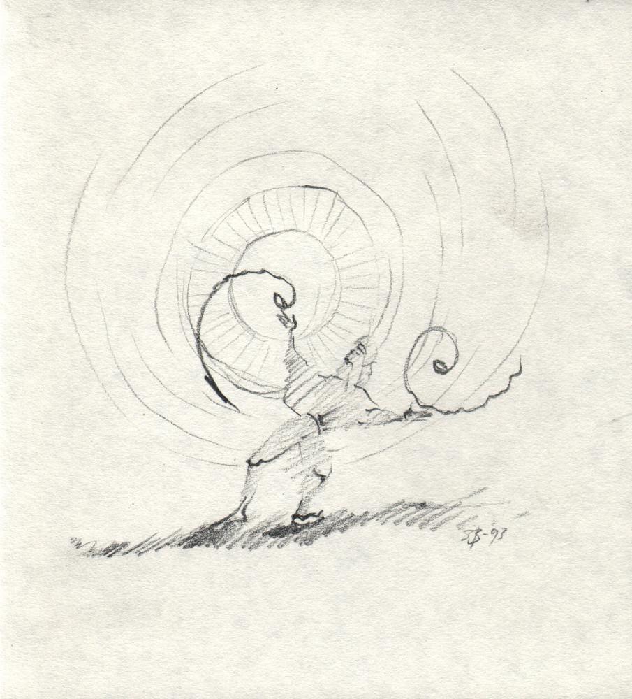 En ung mann hyller sine hormoner med en dans i solen. Leken strek fra 1993. Liten skisse av Sonja Bunes.