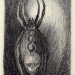 Arachne Anansi Iktomi Spinderella Edderkopp Blyanttegning 50x75mm av Sonja Bunes 1999