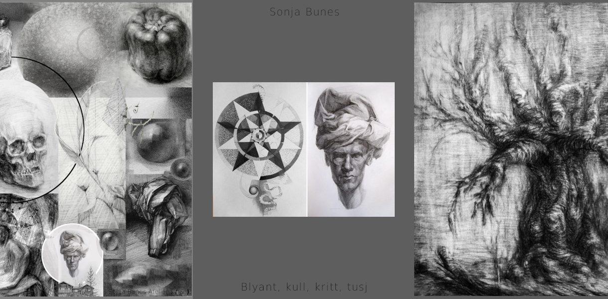 Sonja Bunes Tegning Blyant Kull Kritt Tusj