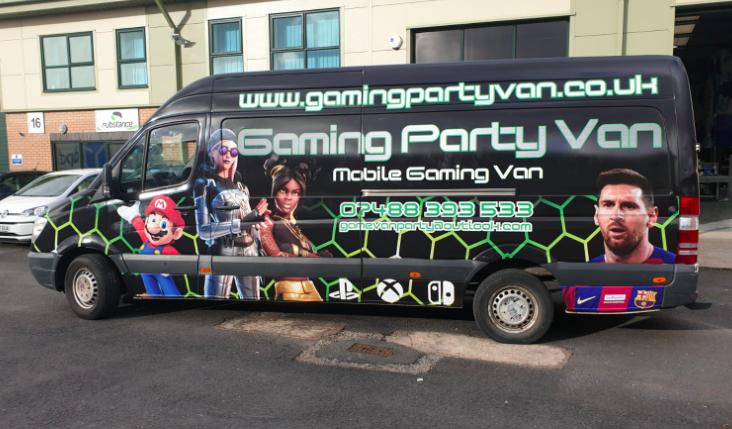 van wrap gaming bus