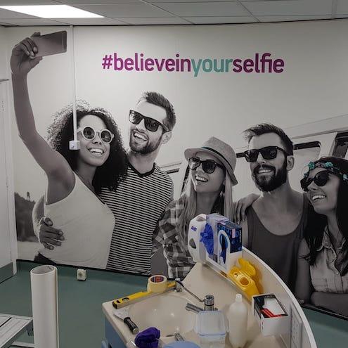 bespoke wall mural. Bespoke wallpaper . Corporate wallpaper . corporate graphics signage