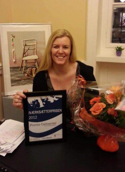 Mette Iværksætterprisen 2012 - Pronto Callcenter