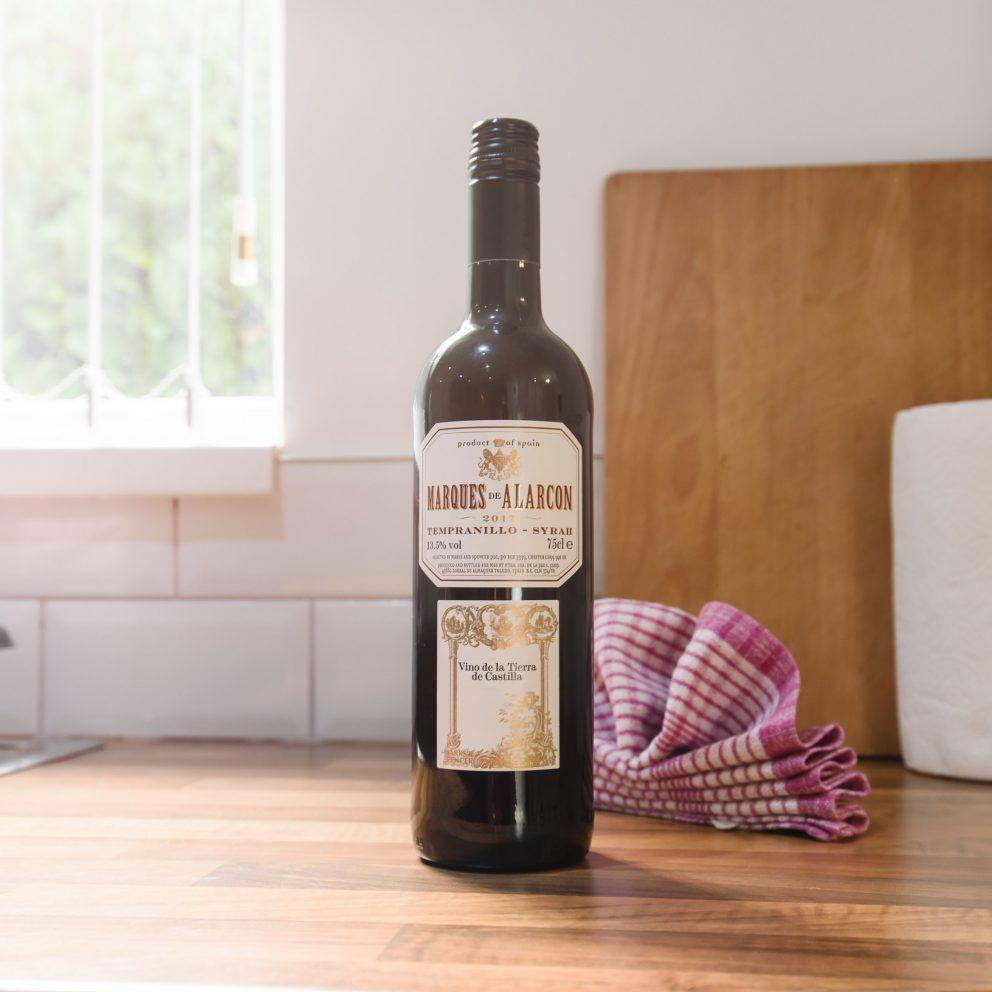 caerau gardens bottle of wine on arrival