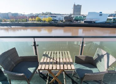 Raphael Heights balcony view of river usk