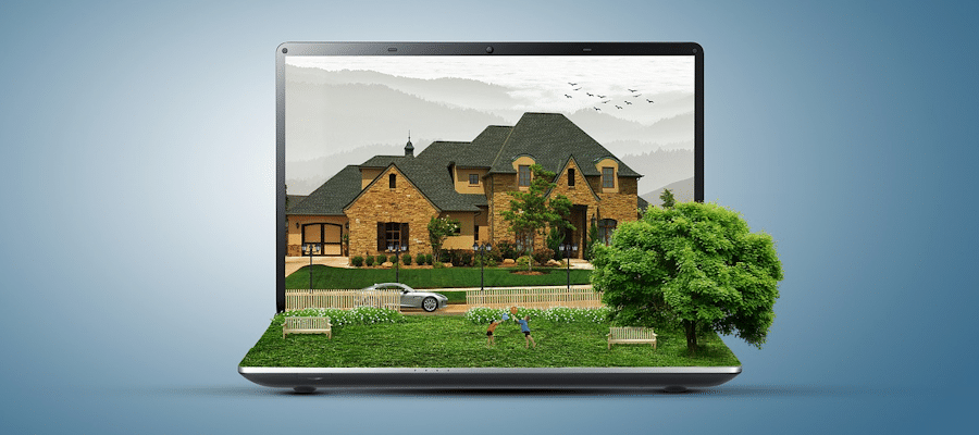 Virtual view of house on laptop