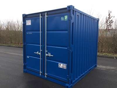10 fods lagercontainer fra containex, set udefra, i farven blå. Vi har altid 10 fods container på lager, også skibscontainer.