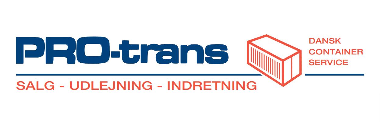 Container virksomhed PRO-trans A/S logo, salg, udlejning og indretning. Dansk container service. Vi har et stort udvalg indenfor container, pavilloner, kontorcontainer og sanitetscontainer.