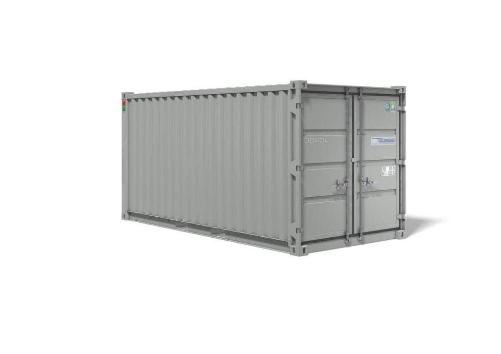 Lagercontainer fra Containex 15 fods container (RAL 7035)