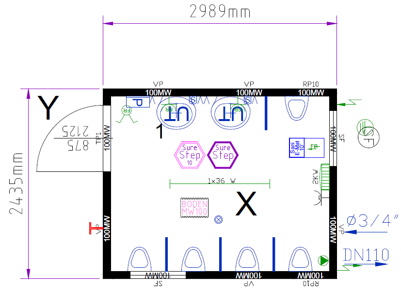 plantegning 10 fod sanitet container, Classic Line, 022149005 fra Containex