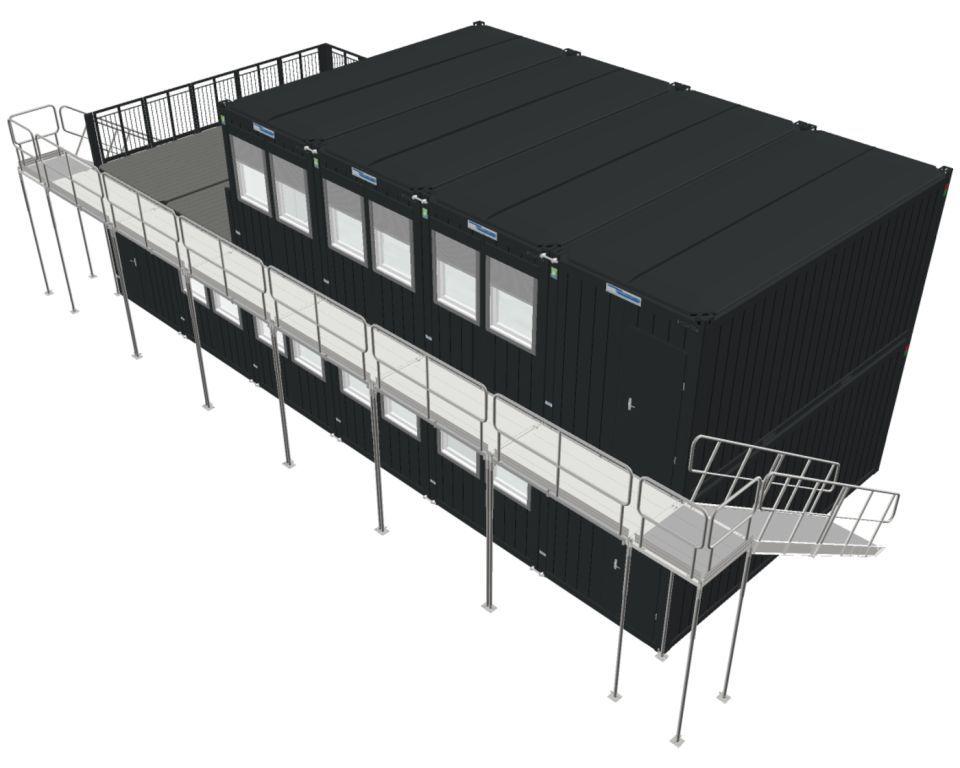 Kontorbygning bestående af 10 stk 20 fods kontorcontainere fra Containex årgang 2021