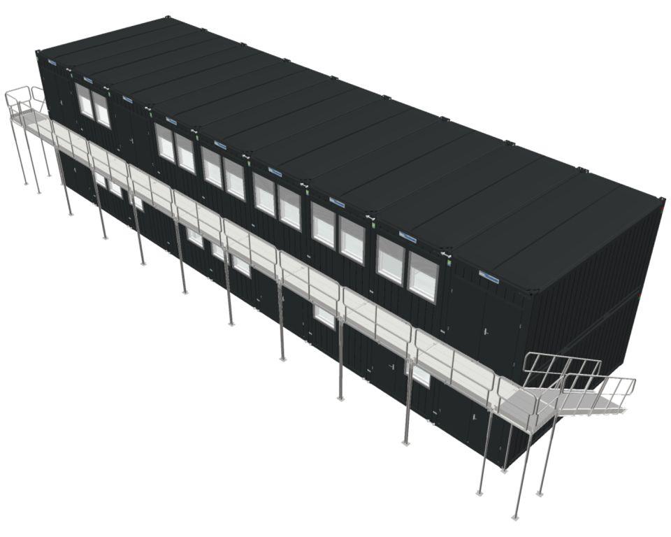 Kontorbygning bestående af 18 stk 20 fods kontorcontainere fra Containex årgang 2021