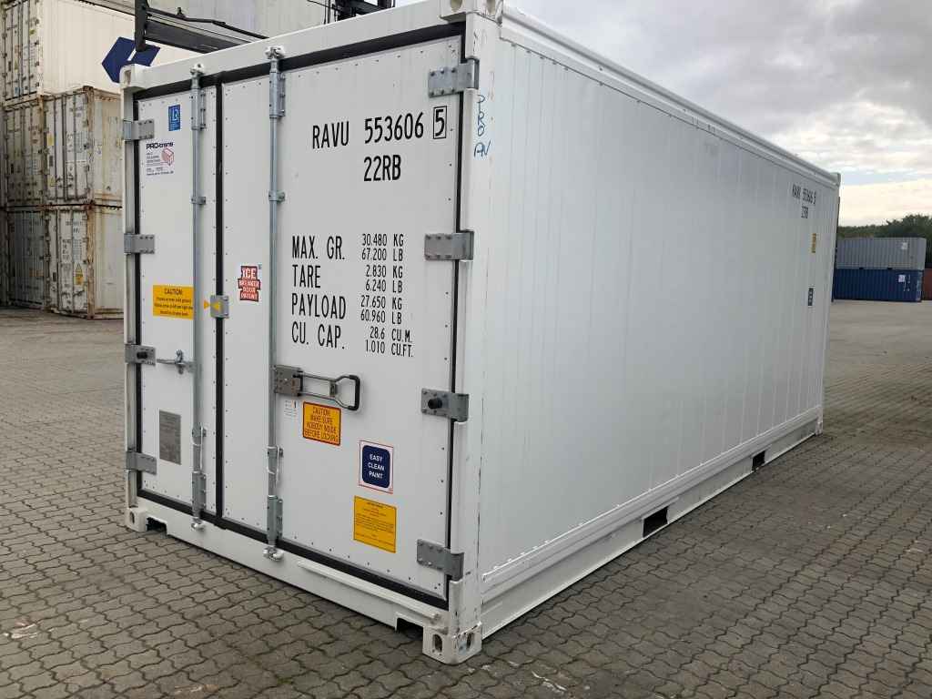 Ny skibscontainer benyttes til køl og frys, reefer 20 fods
