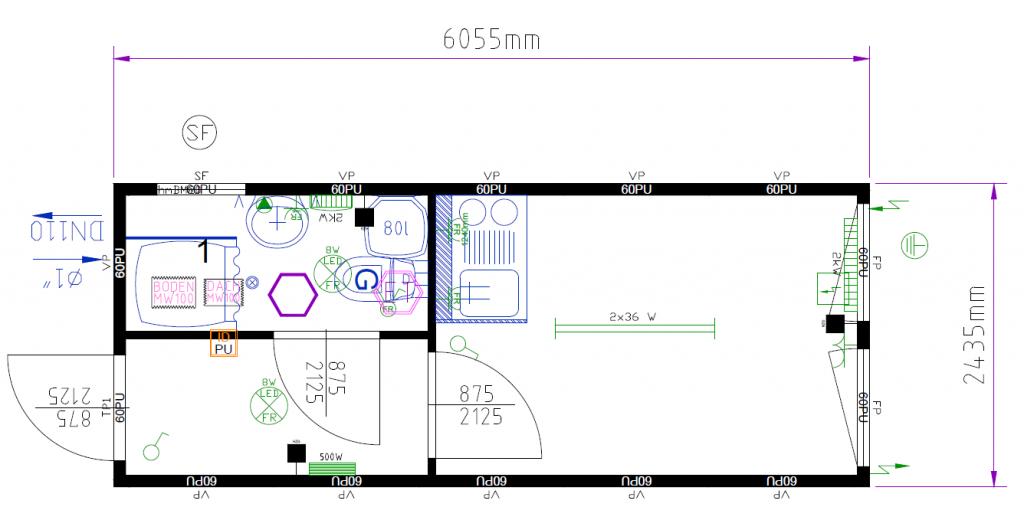 Plantegning for beboelsescontainer, 152114315 fra Containex, indeholder toilet med bad samt en gang, og et større rum med tekøkken