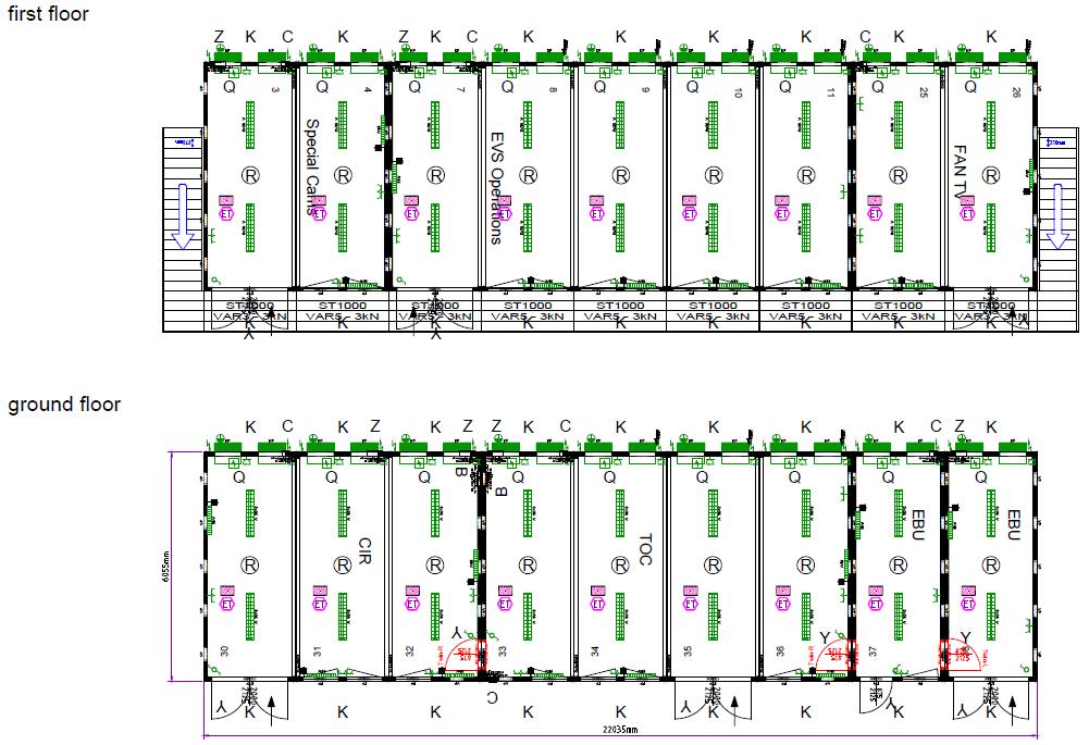 Plantegning 9970712 for kontorbygning baseret på classic line kontorcontainere fra Containex