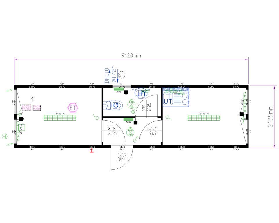 Skurvogn alternativ fra Containex, af typen Classic Line. Indeholder gang, kontor, toilet og spise rum med minikøkken. Dette billede viser modulets plantegning.