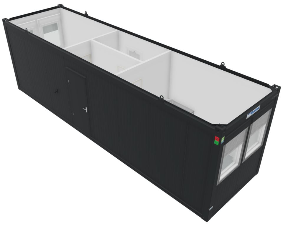 Kontorcontainer Skurvogn alternativ fra Containex, af typen Classic Line. Indeholder gang, kontor, toilet og spise rum med minikøkken. Dette billede viser modulet oppefra.