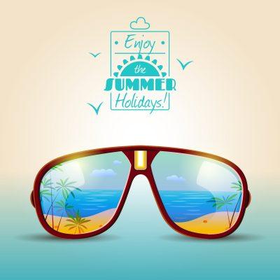 Solbriller og ferie i vente. Sol, sommer og strand er godt rammer for lykke men finder vi den?
