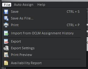 Assignments Editor File Menu