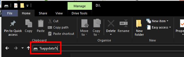 Ste 1 - File Explorer - Navigate to User Application Data folder.