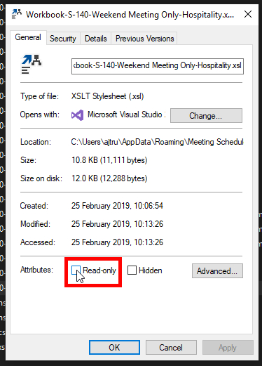 Step 4 - File Explorer - Remove the Read-only attribute.