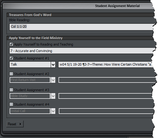 Reset button on the Student Assignment Material window