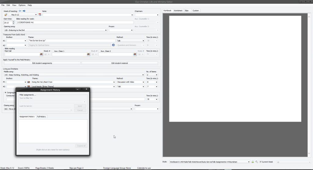 The MIdweek Editor window.
