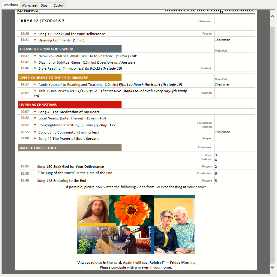 Sample schedule with Regional Convention