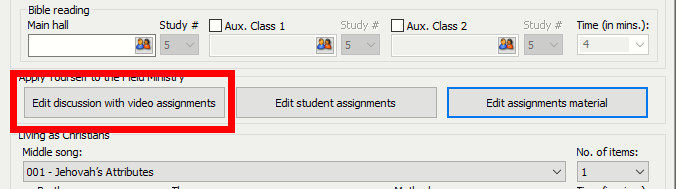 Edit discussion with video assignments button