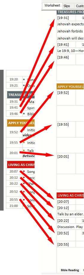 Chairman Worksheet timings