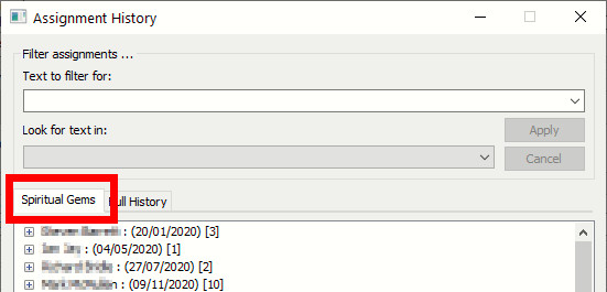 Assignment History — Selected Assignment View